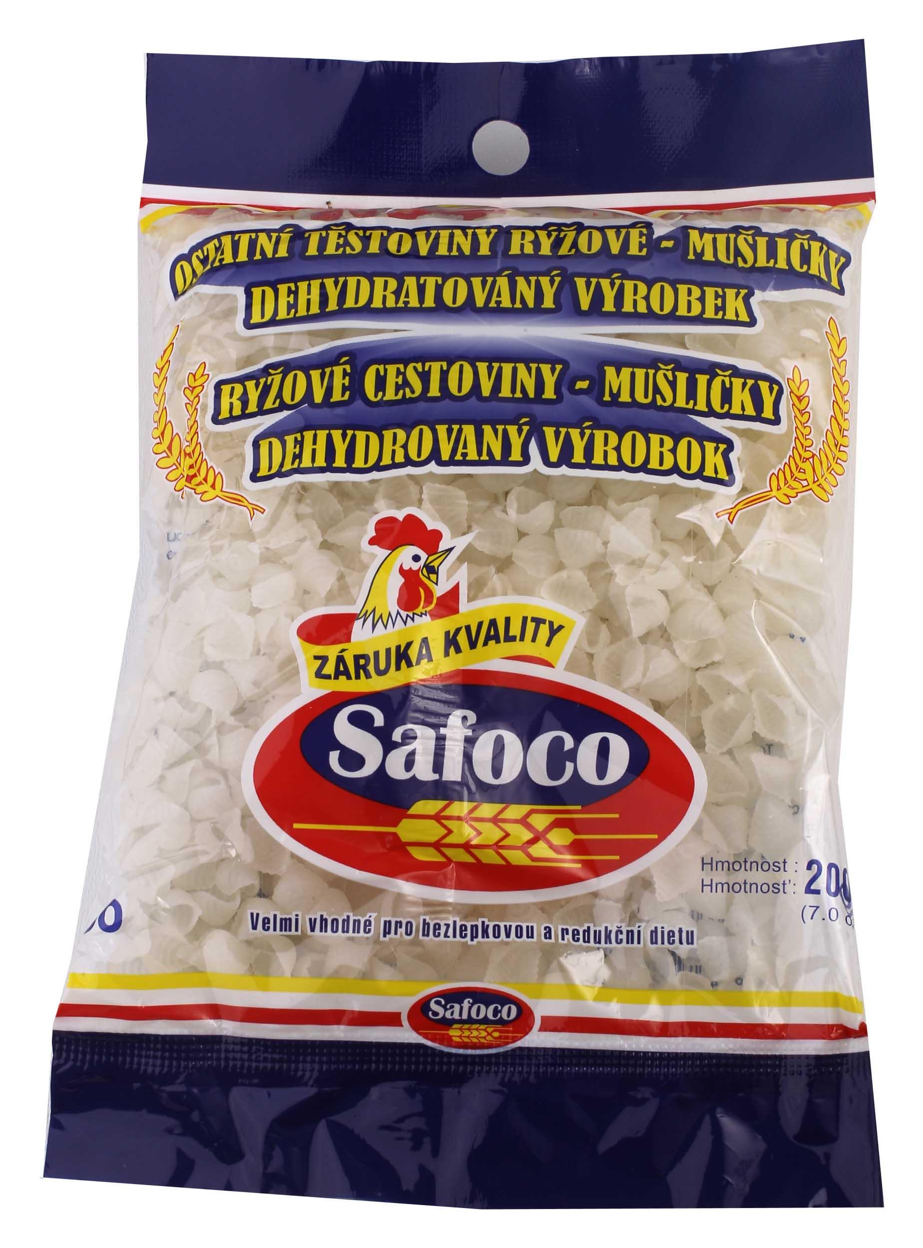 Rýžové těstoviny Mušličky SAFOCO 200g bez lepku