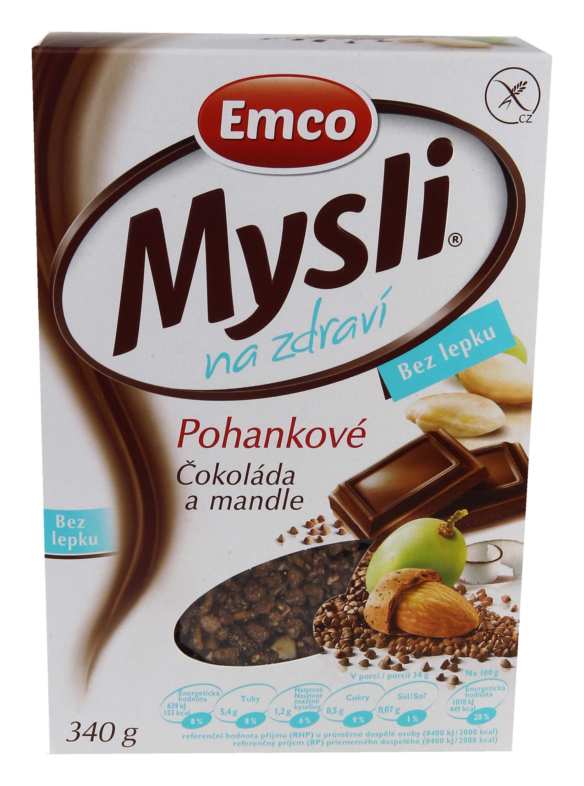 EMCO Mysli na zdraví Pohankové Čokoláda amandle 340g bez lepku