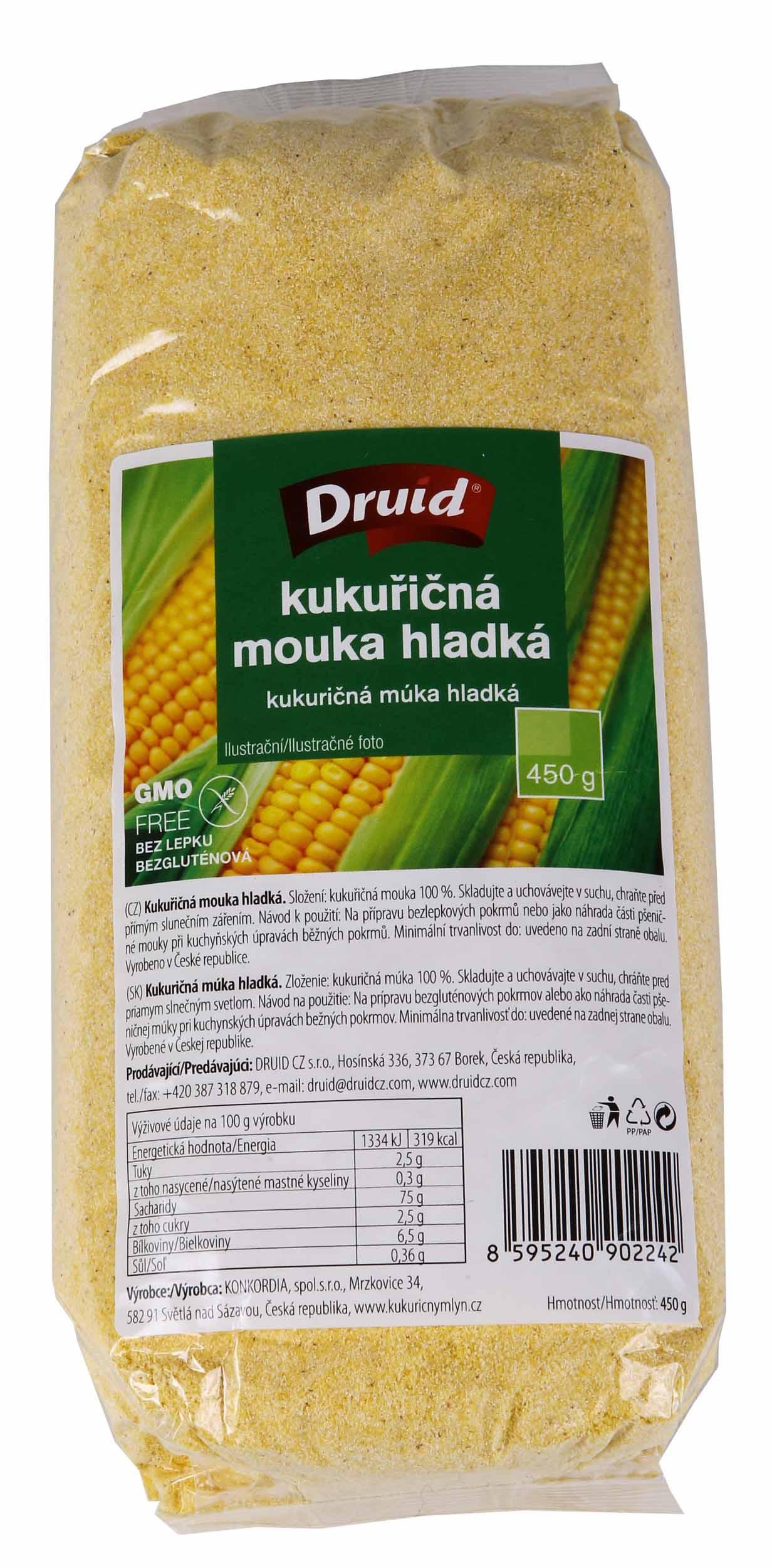 Kukuřičná mouka hladká DRUID 450g bez lepku